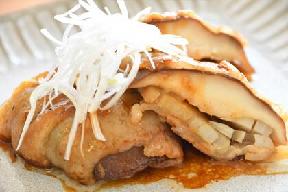 シイタケとレンコンの肉巻き