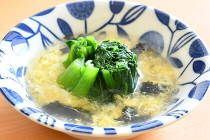 小松菜ののりたまごスープかけ