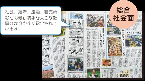 日本農業新聞 総合社会面 社会、経済、流通、直売所などの最新情報を大きな記事で分かりやすく紹介されています。