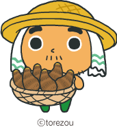 サトイモを持ったとれ蔵